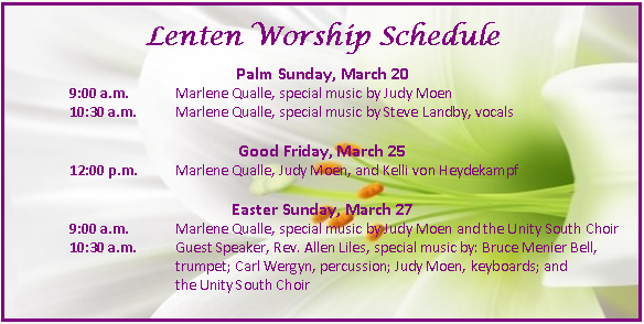 Lent & Easter at Unity South | Unity South Twin Cities